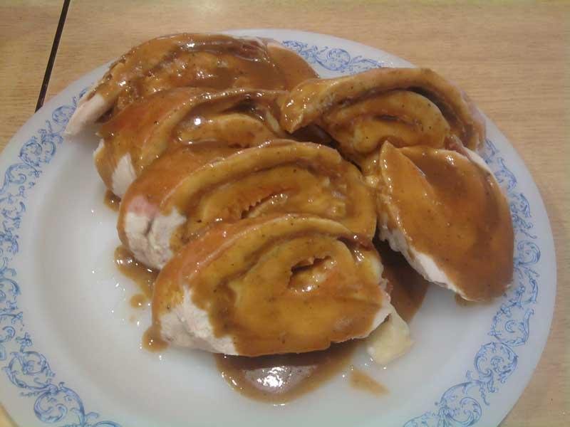 Receta de rollo de pollo con salsa agridulce
