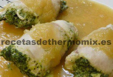 recetas de rollos de pollo con espinacas en thermomix