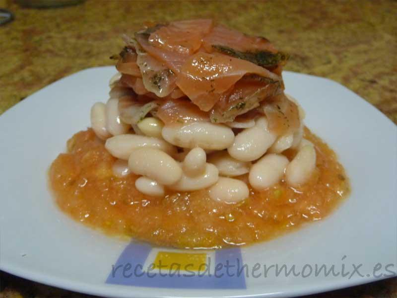 Ensalada de judías y salmón con Thermomix