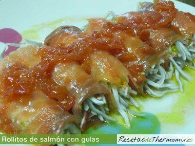 Rollitos de salmon con gulas Thermomix