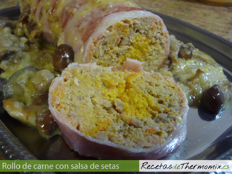 Rollo de carne con salsa de setas con Thermomix