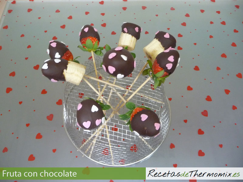 Frutas con chocolate en Thermomix