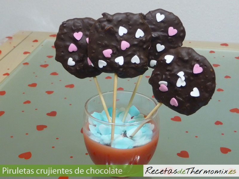 Piruletas crujientes de chocolate con Thermomix
