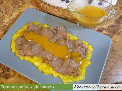 Ternera con salsa de mango en Thermomix