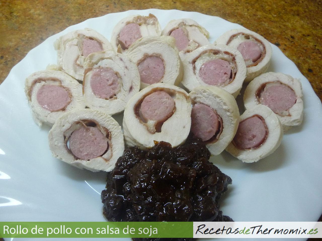 Rollo de pollo con salsa de soja en Thermomix