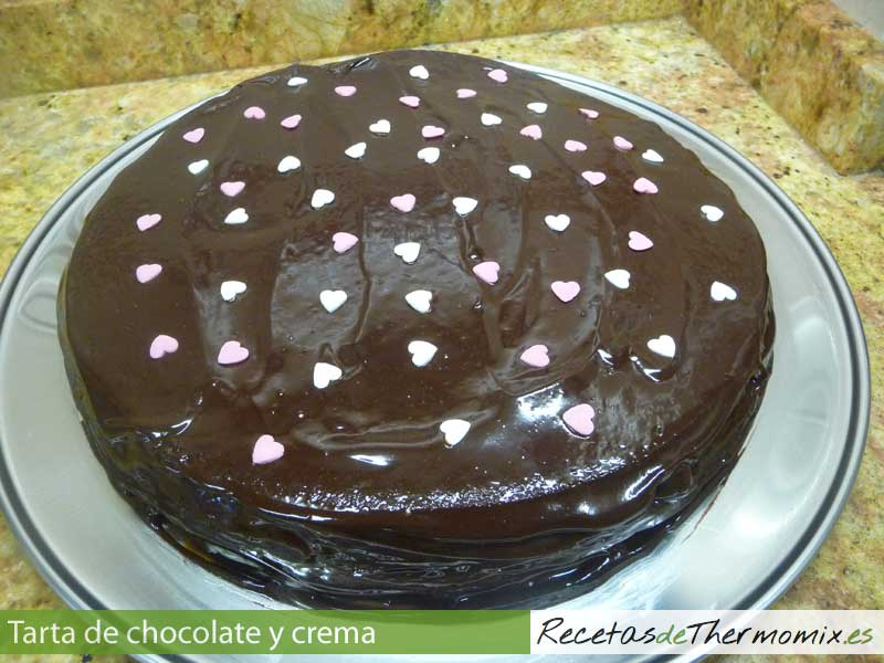 Tarta de chocolate y crema en Thermomix