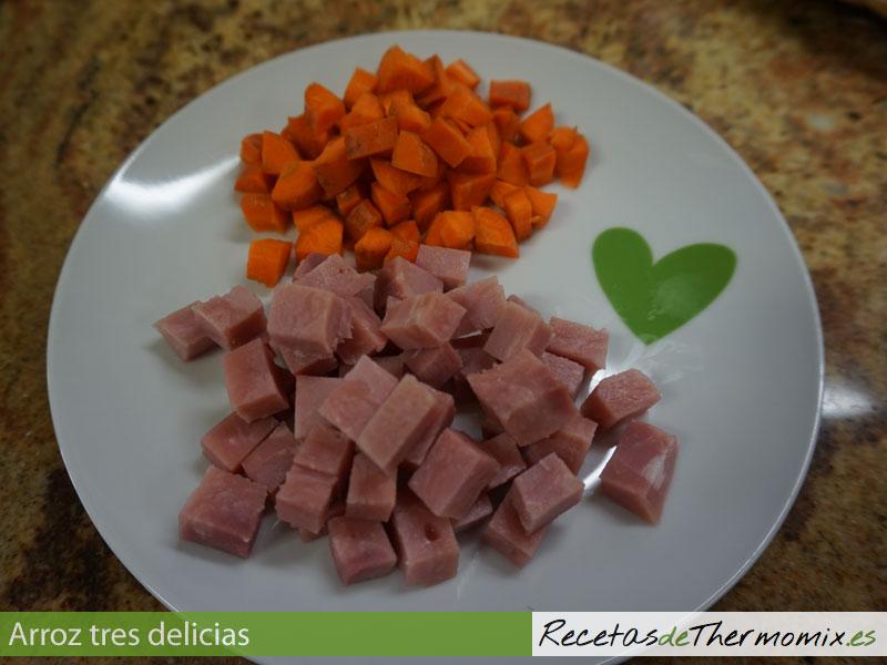 Ingredientes para arroz tres delicias Thermomix