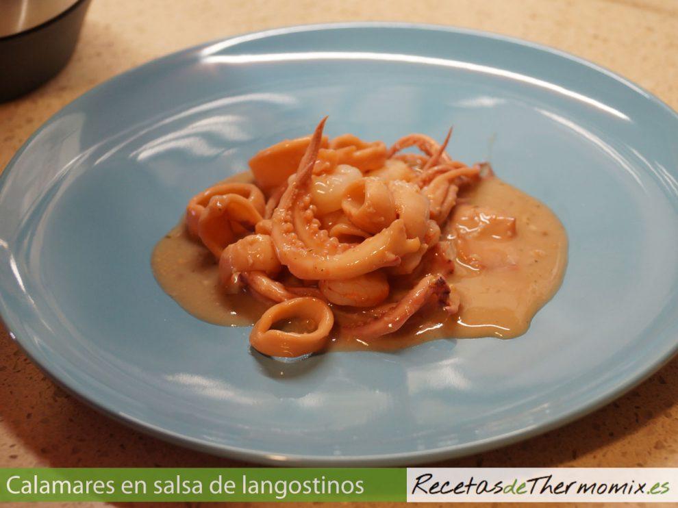 Calamares con salsa de langostinos y almendras con thermomix