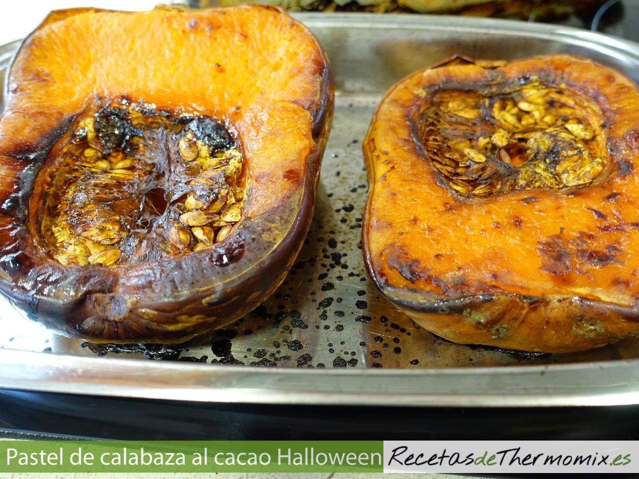 Calabazas asada para pastel de Halloween con Thermomix
