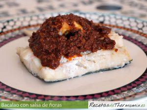 Bacalao con salsa de ñoras en Thermomix